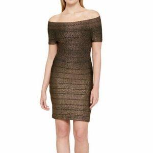 Guess Gold Glitter Bandage Dress 4